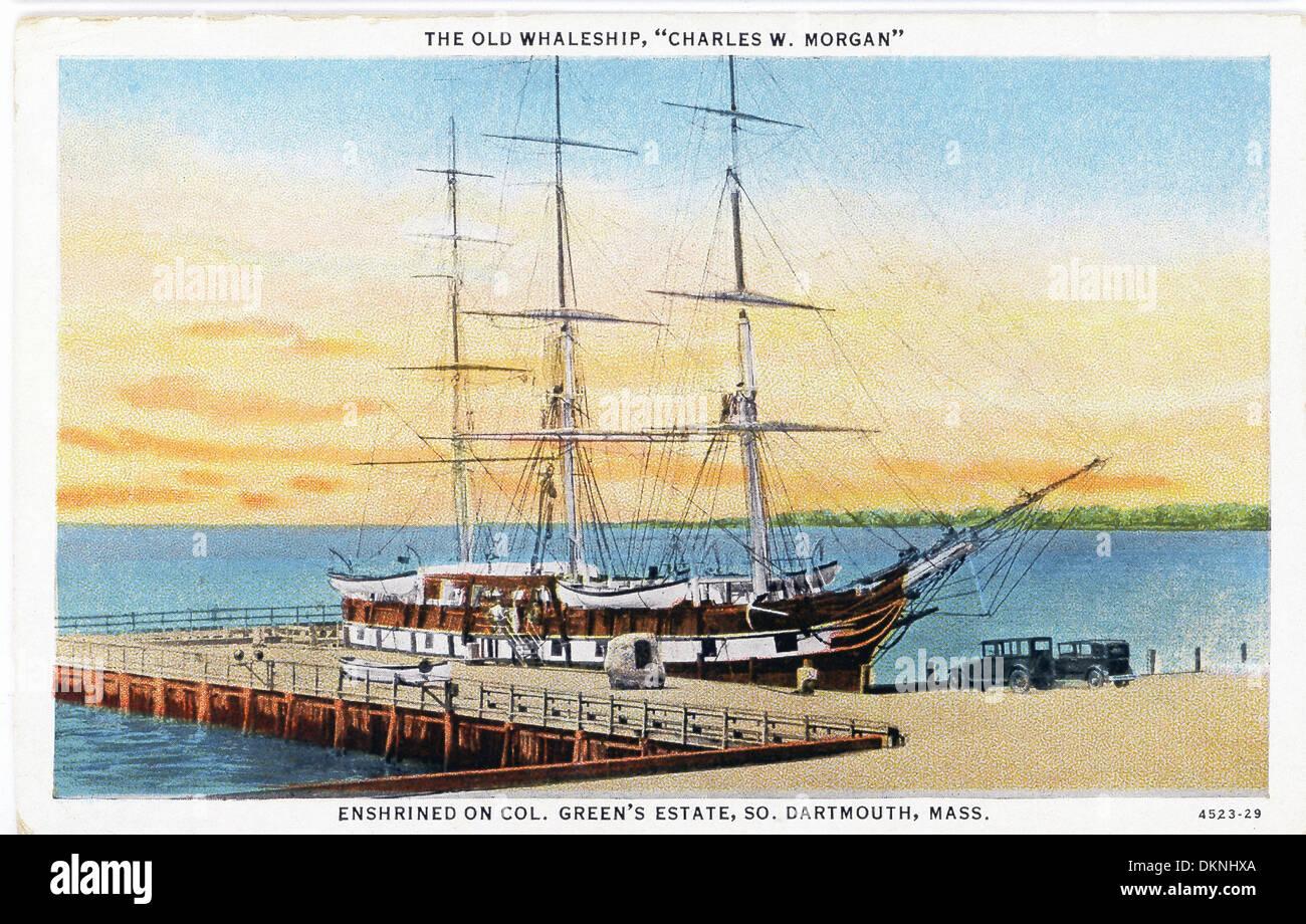 """Morgan three masted whaling ship 8/"""" x 10/"""" 1927 Photo Charles W"""