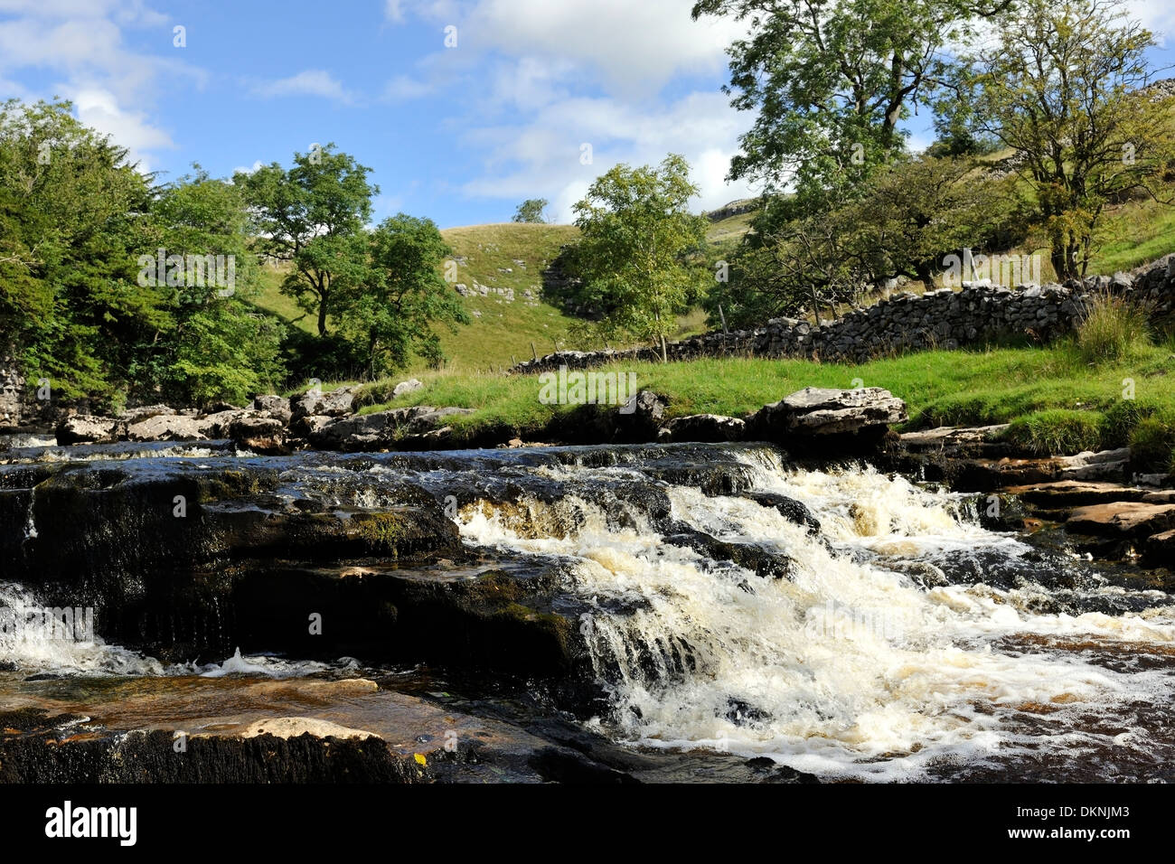 Water cascading above Thornton Force, Ingleton, Yorkshire Dales National Park, England - Stock Image