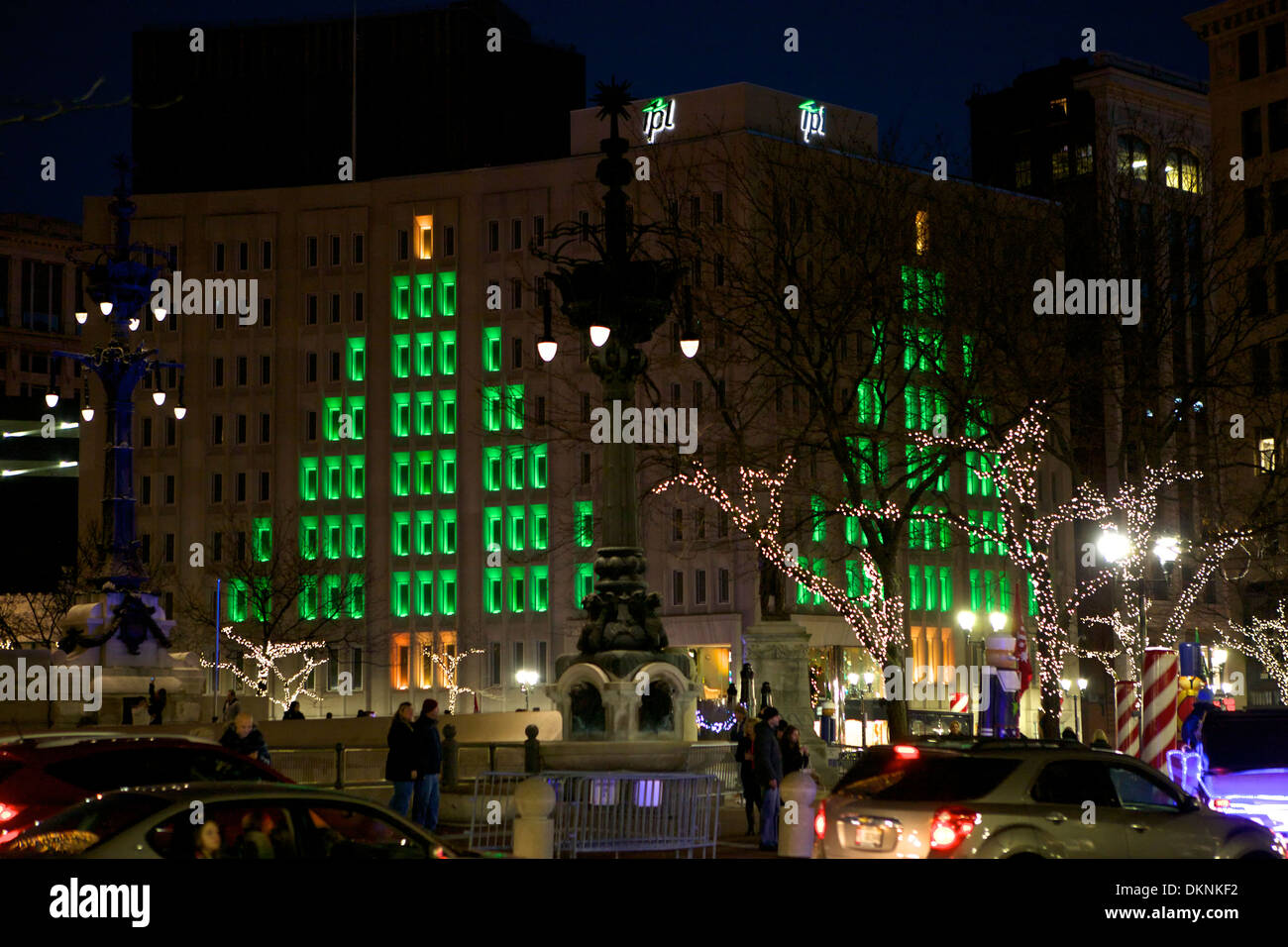 The Soldier And Sailor Monument In Downtown Indianapolis, Indiana Dressed  In Christmas Lights For The Holiday Season.
