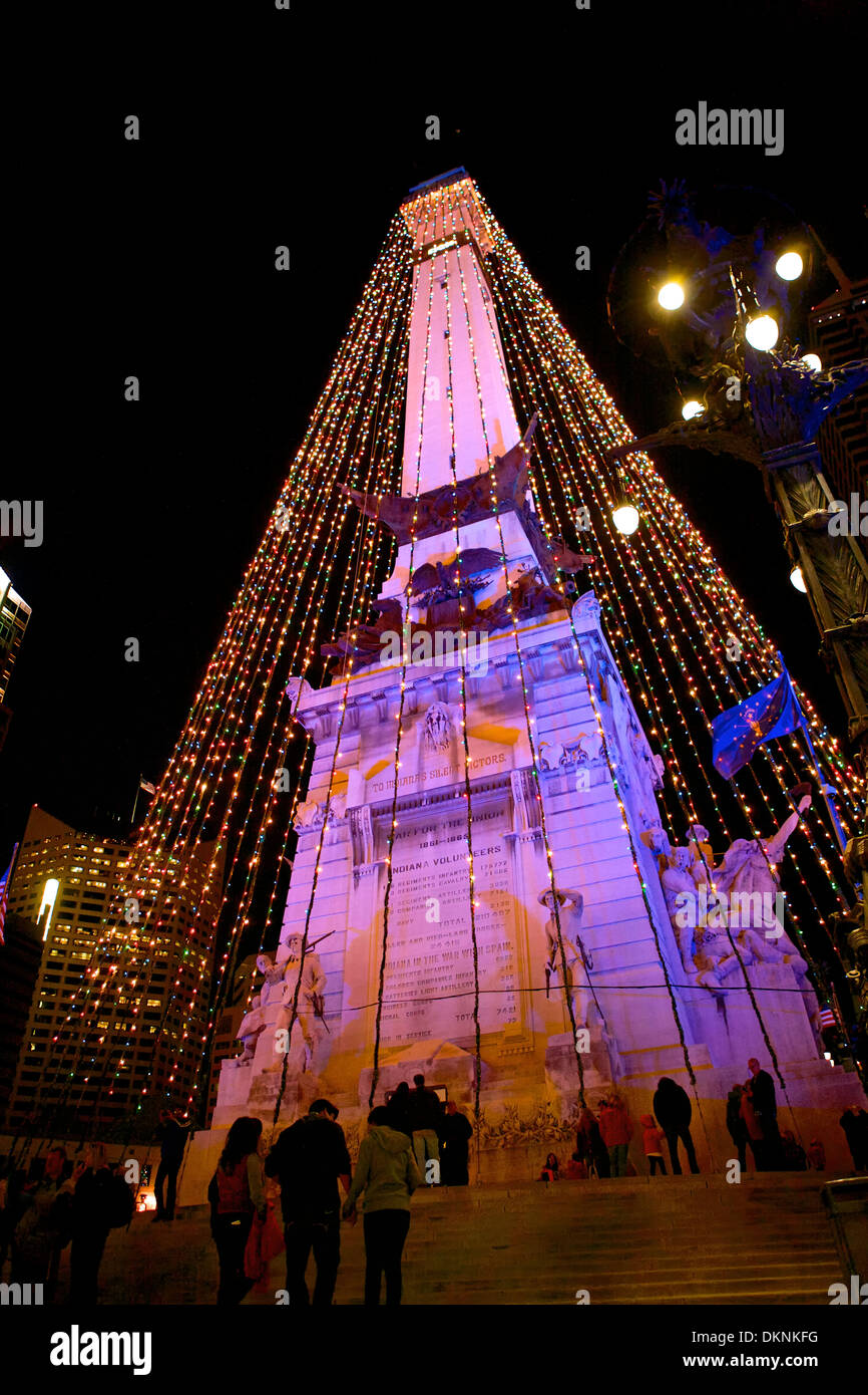 Christmas In Indianapolis.The Soldier And Sailor Monument In Downtown Indianapolis