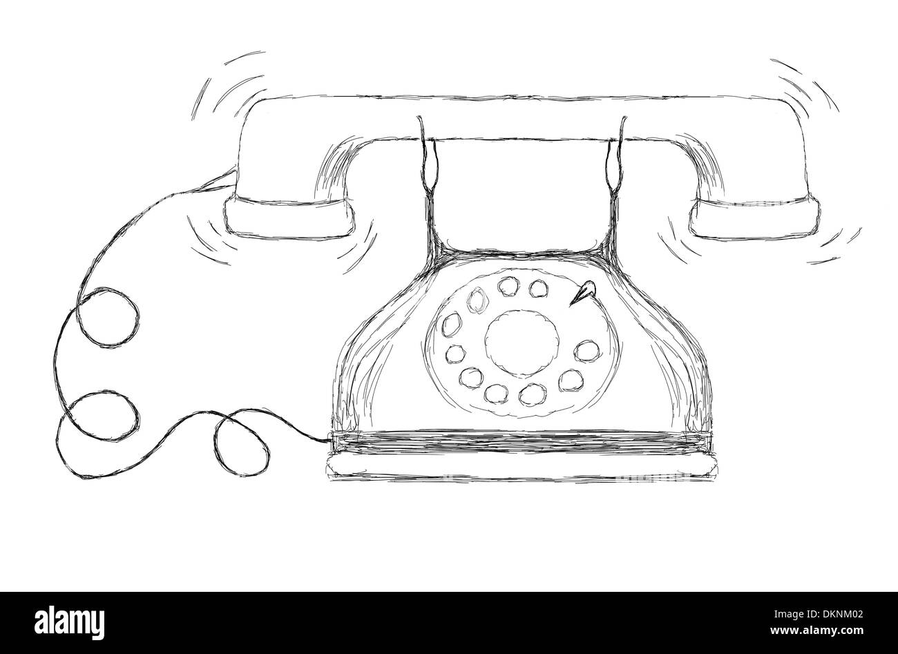 Drawing or illustration of and old style wired telephone