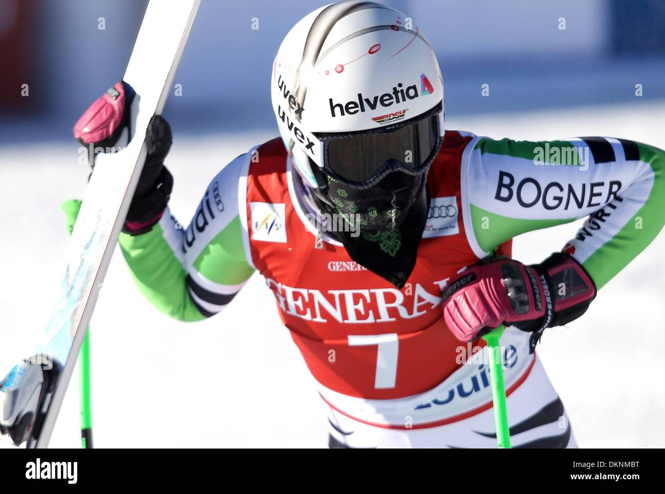 07.12.2013  FIS WC Lake Louise, Canada.Womens world cup downhill skiing Viktoria Regensburg (GER). - Stock Image