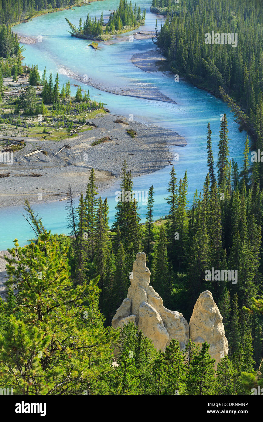 Hoodoos in the Bow River Valley, Banff National Park, Alberta, Canada - Stock Image
