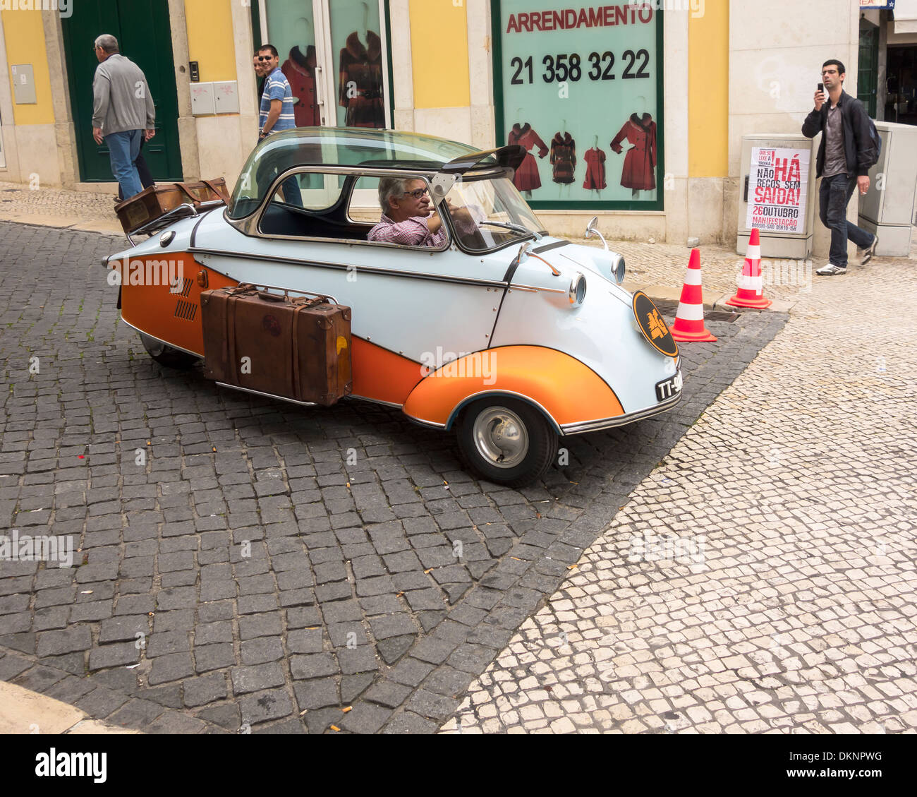 The sights of, overlooking, around, in the city town of  Lisbon, Portugal, Europe.  The Car from the Optimus Kanguru 4G Advert - Stock Image