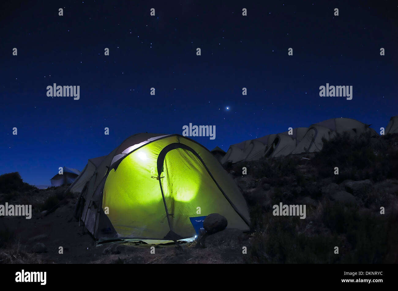 Horombo campsite on Marangu Route at night under the stars and milky way - Stock Image