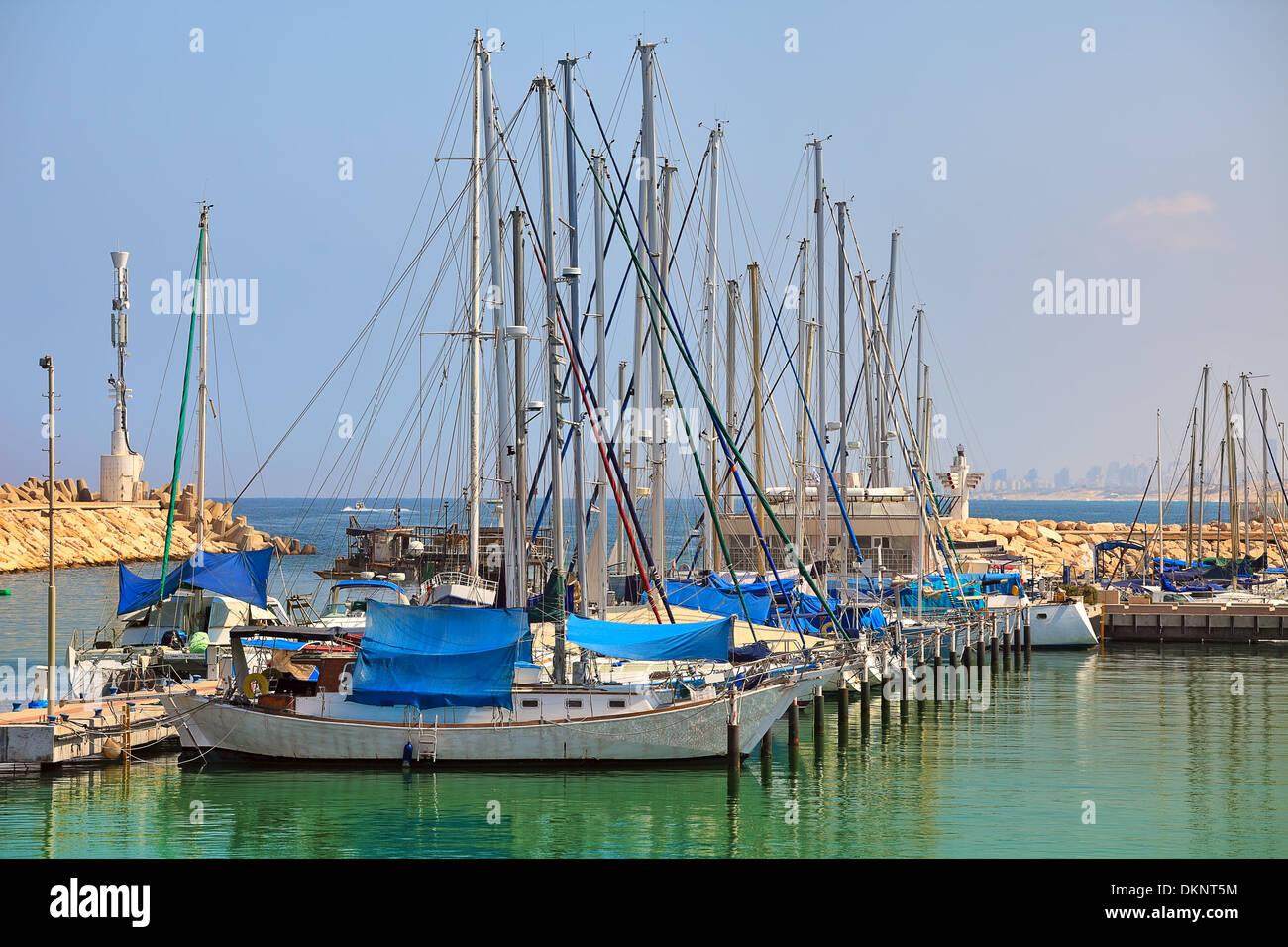 Marina and yachts on Mediterranean sea in city of Ashqelon, Israel. - Stock Image