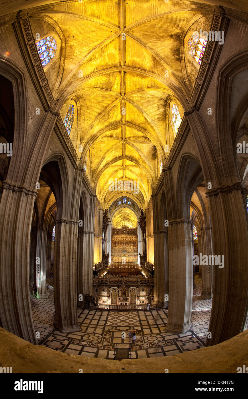 Interior of the Cathedral of Seville. Seville, Andalusia, Spain - Stock Image