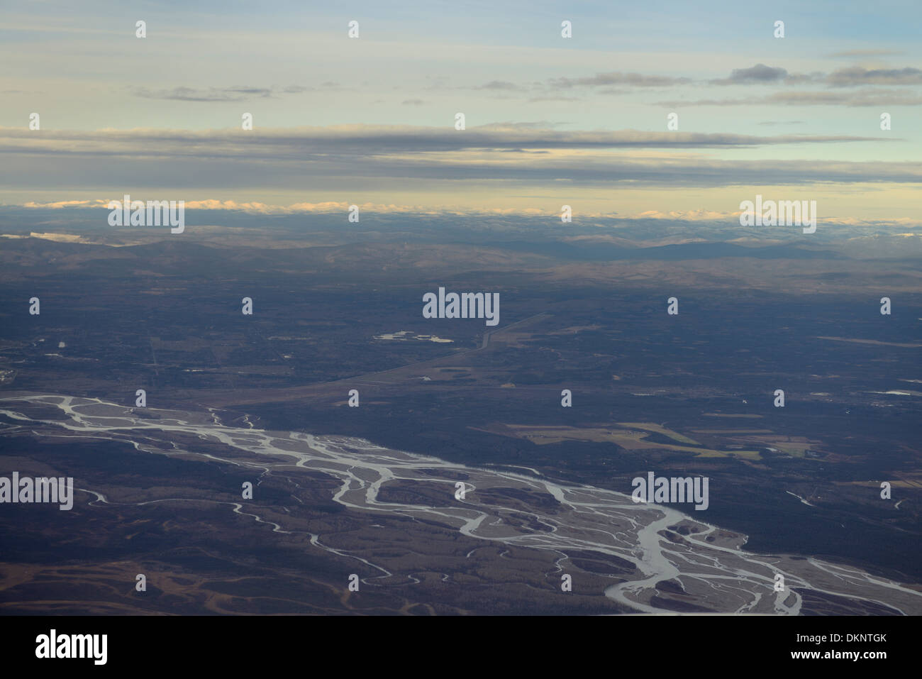 Aerial view of the Tanana River at the North Pole Alaska USA with the Chena Lakes and Brooks Range mountains - Stock Image