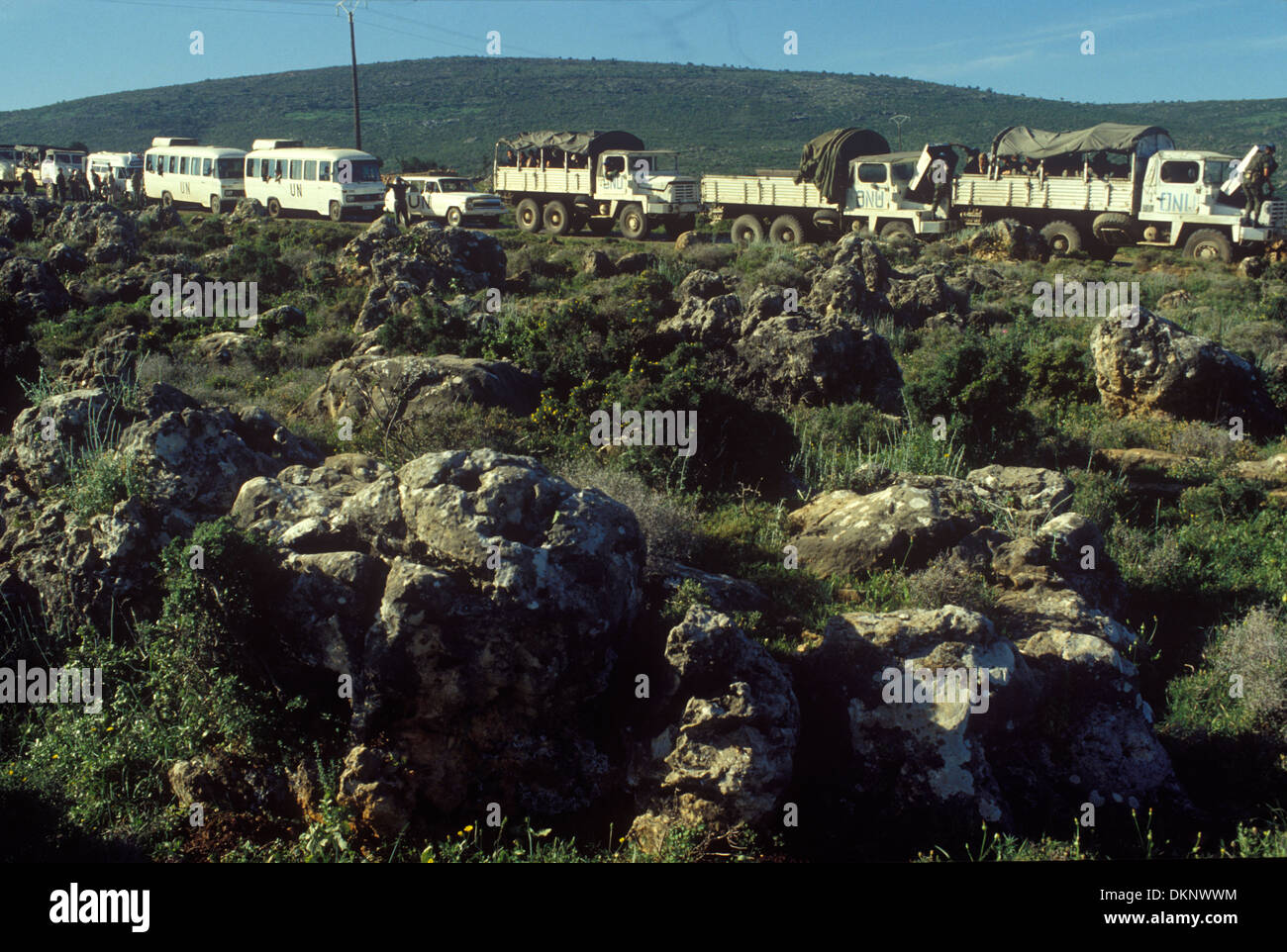 Irish UN, United Nations troops pull out of southern Lebanon 1980. HOMER SYKES - Stock Image