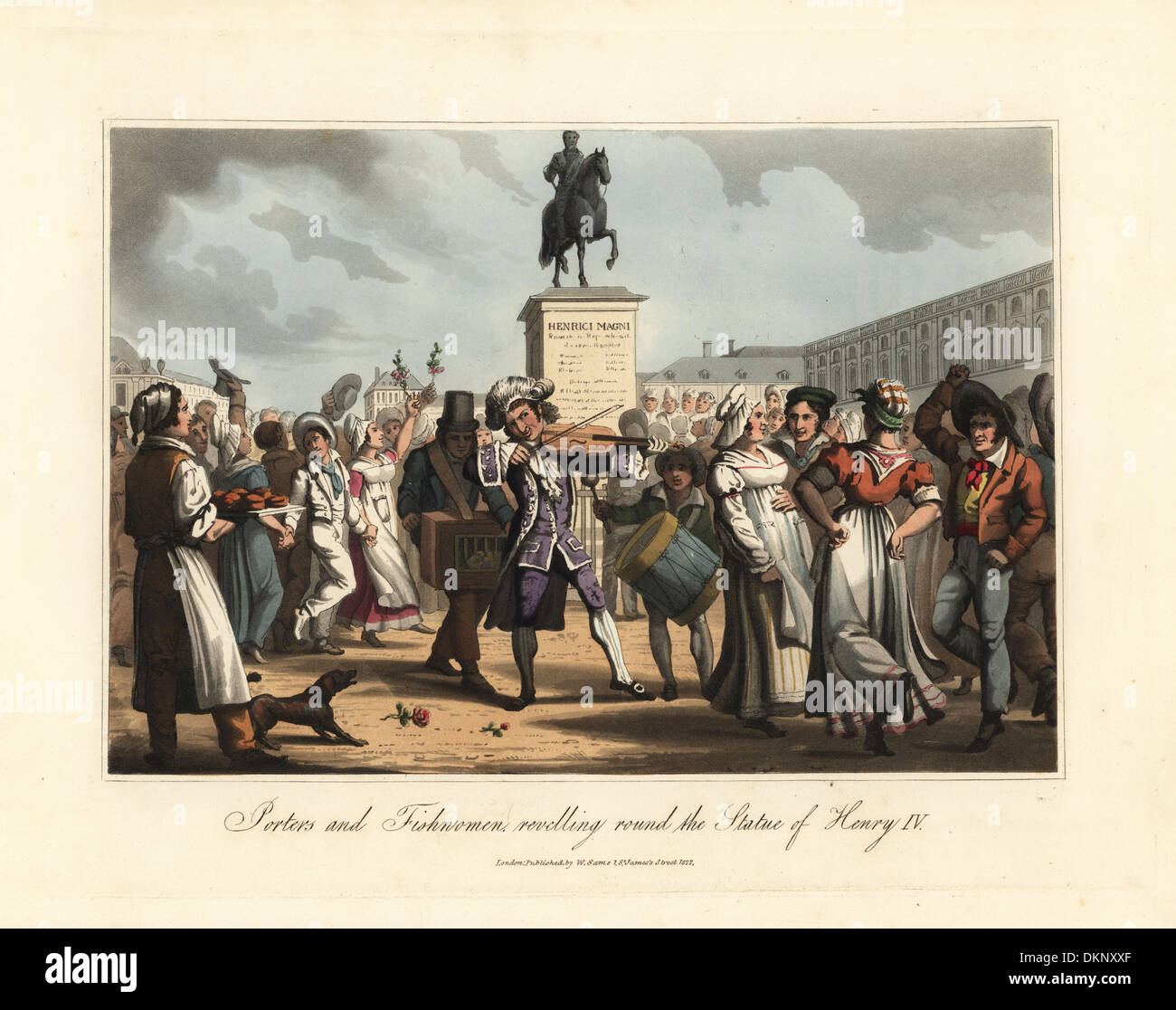 Market porters and fishwomen dancing around a statue of Henri IV. - Stock Image