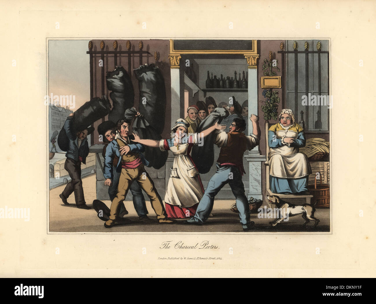 Charcoal porters brawling at a cabaret bar, 19thC. - Stock Image