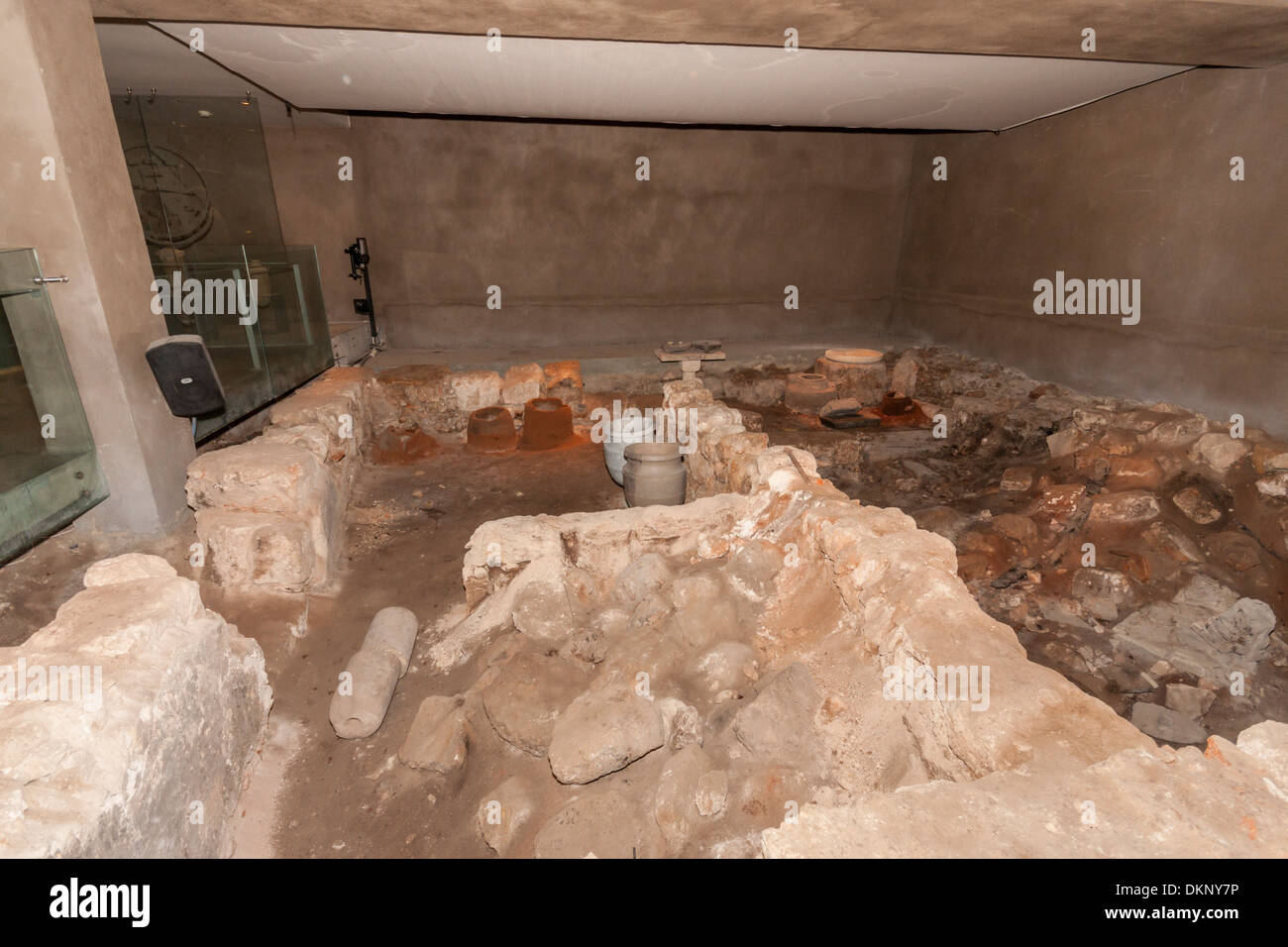 "Israel. ""The burnt house"", excavation from the Second Temple period, showing signs of the roman destruction of Jerusalem. Stock Photo"