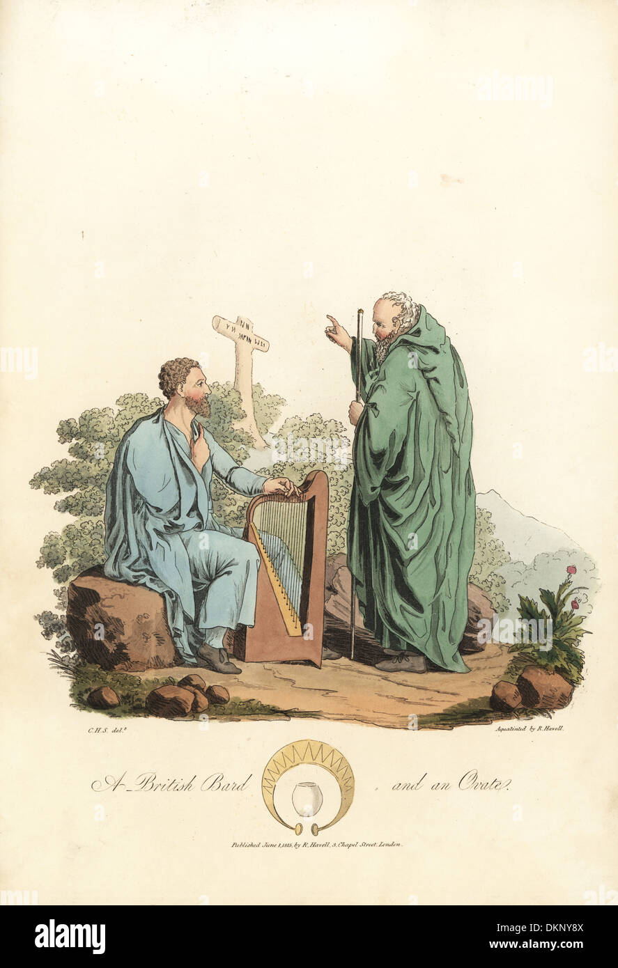 British Bard and an Ovate, Druidic priests, of the pre-Roman era. - Stock Image