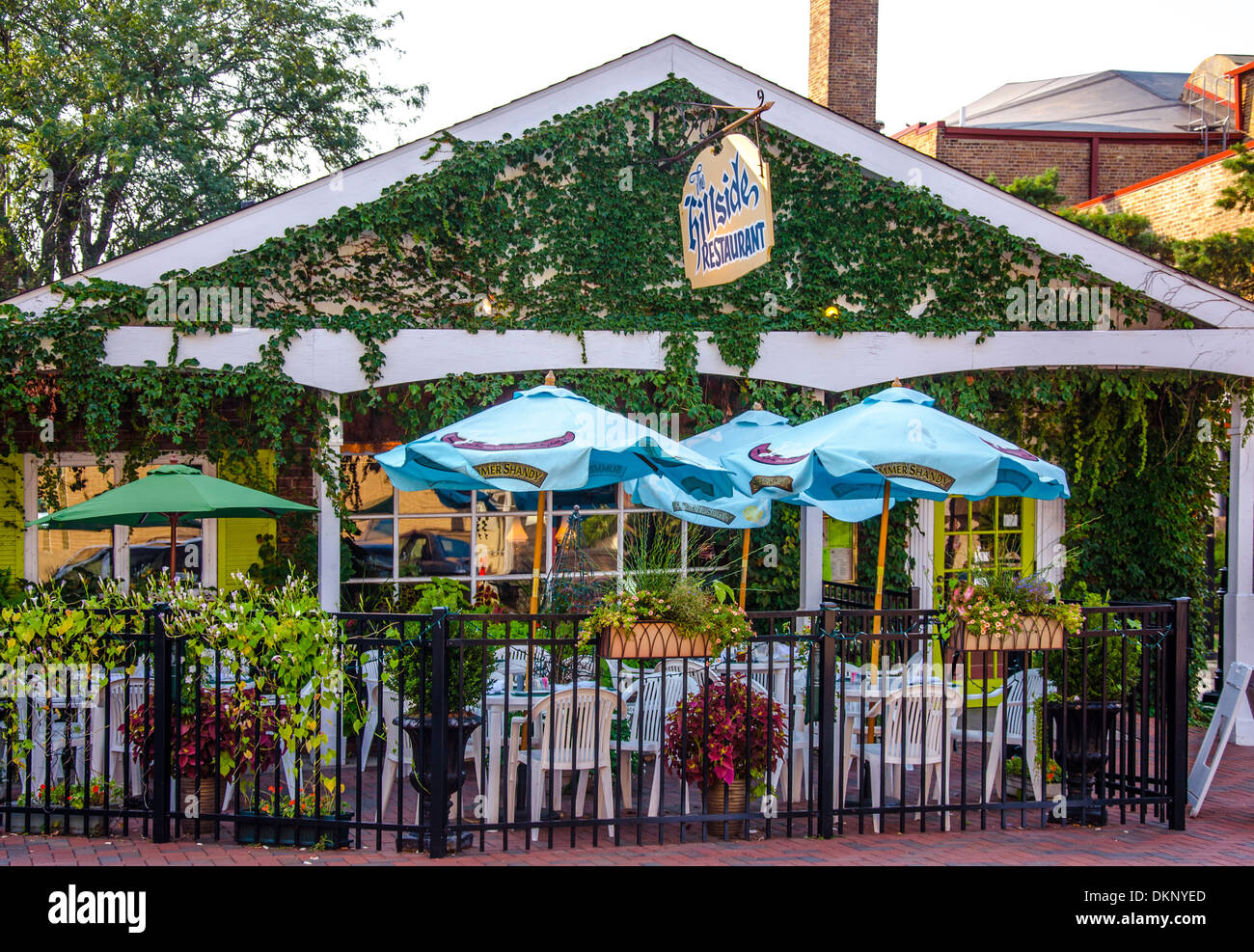 The Hillside is a popular restaurant in DeKalb, Illinois a town along the Lincoln Highway. - Stock Image
