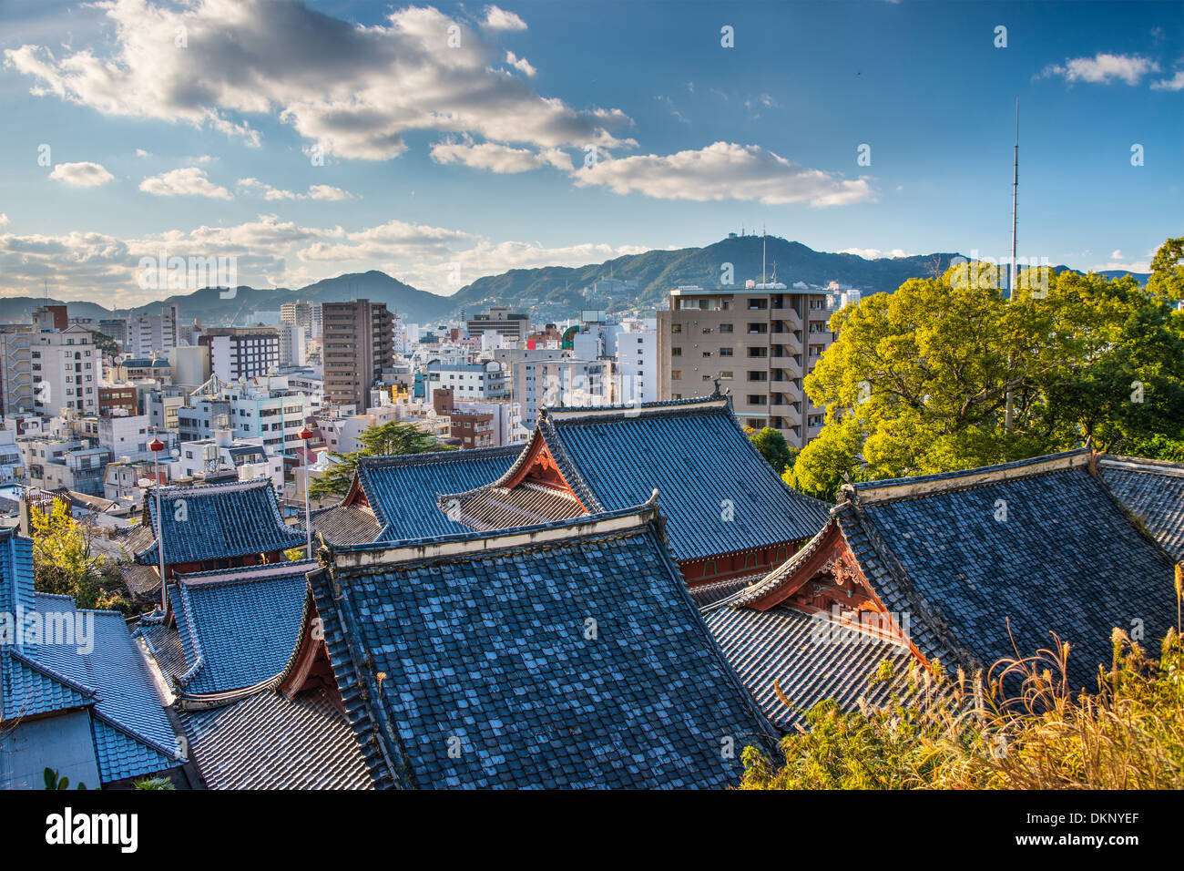 Temple rooftops in Nagasaki, Japan. - Stock Image