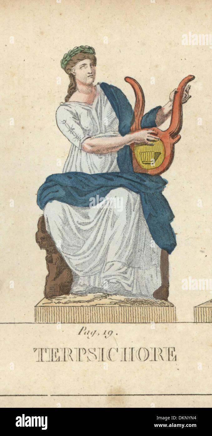 Terpsichore, Greek muse of dance, seated with lyre. - Stock Image