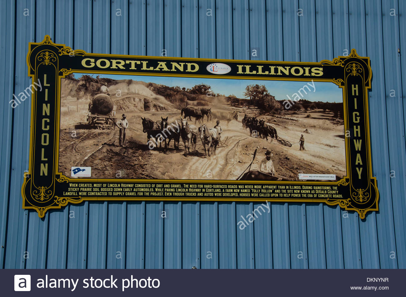 The Lincoln Highway Interpretive Mural shows the building of the highway in Cortland, Illinois. - Stock Image