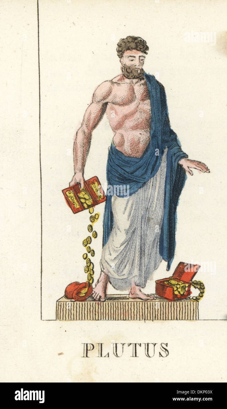 Plutus, Roman god of wealth, with boxes of gold coins. - Stock Image