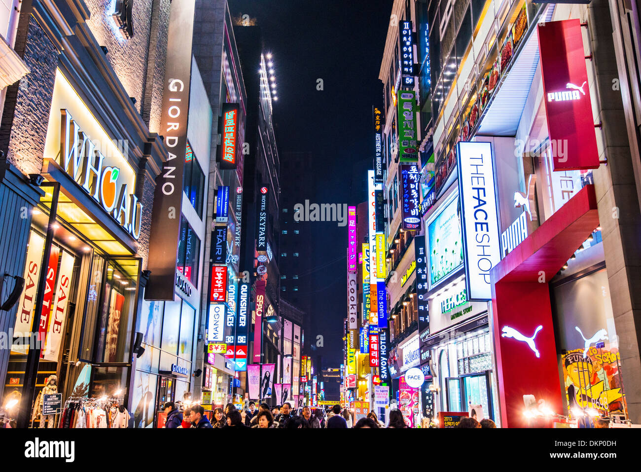 Myeong-dong nightlife district of Seoul, South Korea. - Stock Image