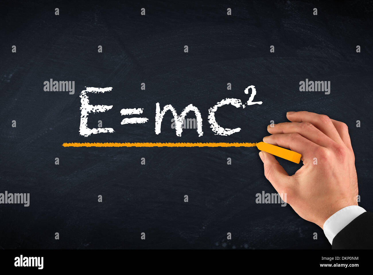 chalk board with hand and theory of relativity - Stock Image