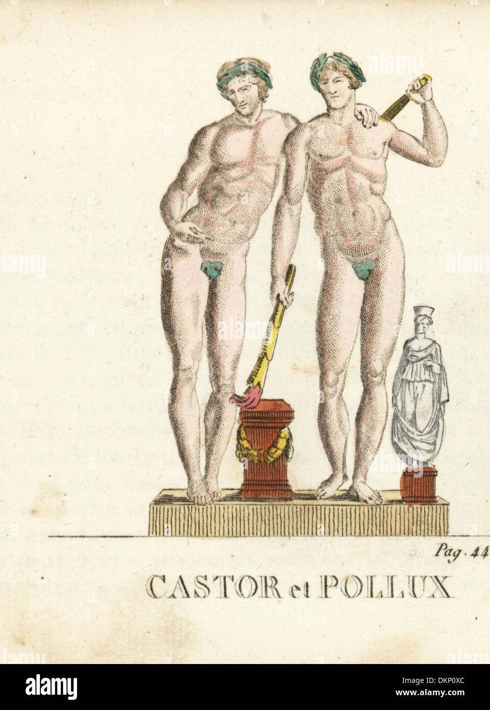 Castor and Pollux, Greek and Roman twin gods, with torches, garlands. - Stock Image