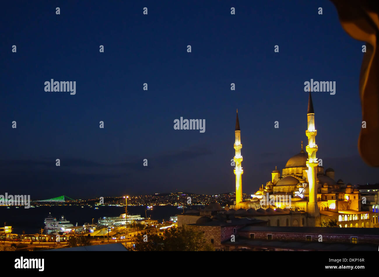 The Golden Horn glitters in the night sky. Stock Photo