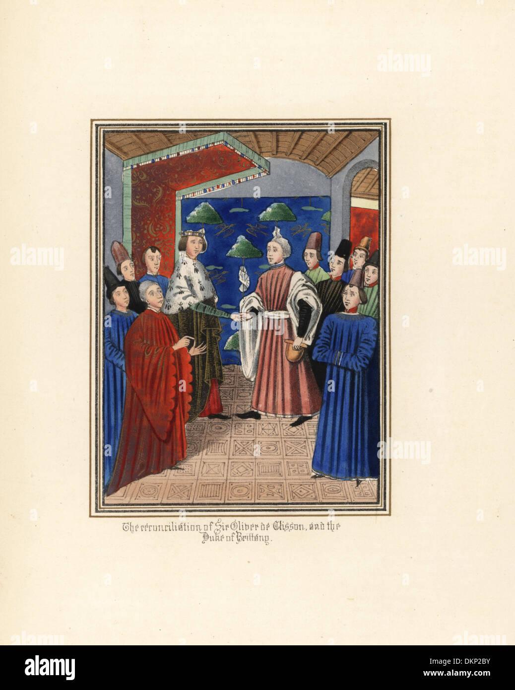 The reconciliation of Sir Oliver de Clisson and John de Montfort, 1397. - Stock Image