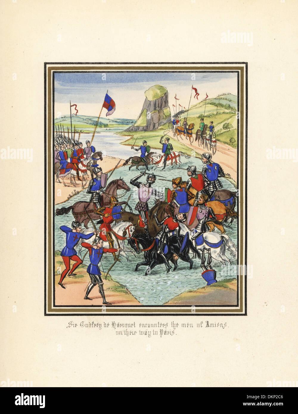 Sir Godfrey de Harcourt defeats the men of Amiens, 1346. - Stock Image