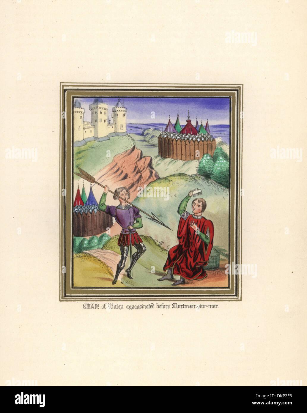 Evan of Wales assassinated by John Lambe at Mortmain-sur-mer, 1381. - Stock Image