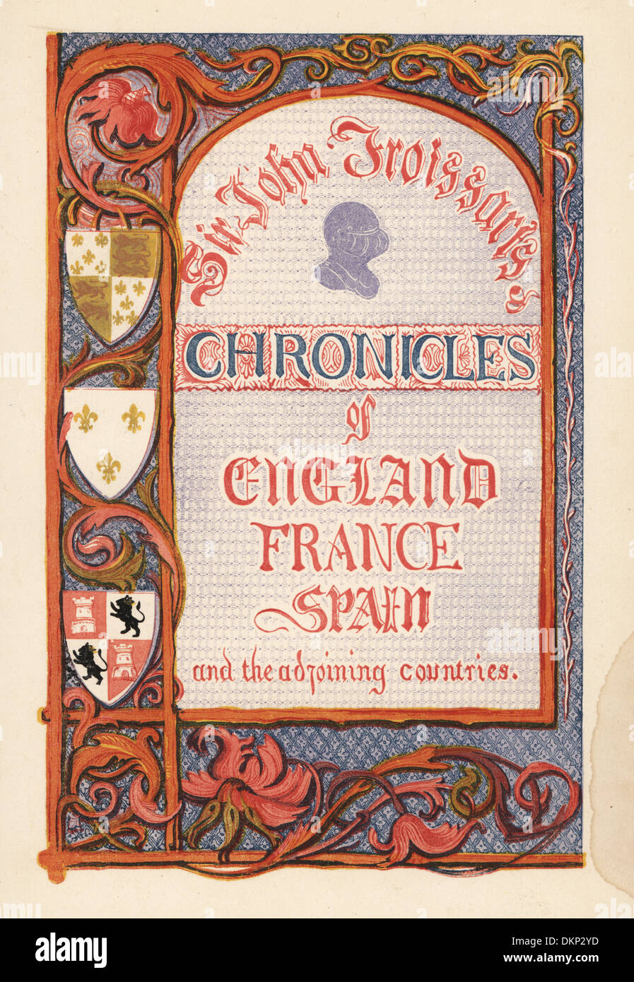 Illuminated title page with calligraphy and border of heraldic shields. - Stock Image