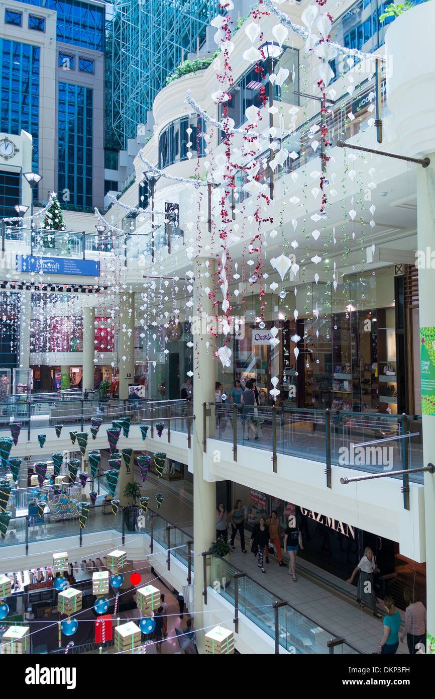 Christmas decorations in Australia on Collins shopping mall Stock ...