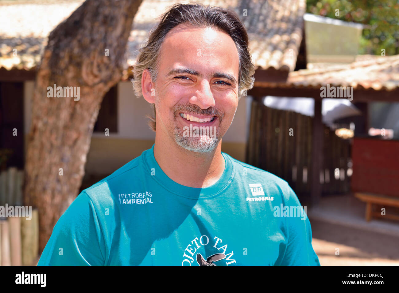 Brazil, Bahia: Manager Gonzalo Rostan posing for camera in the Sea Turtle Project Tamar in Praia do Forte Stock Photo
