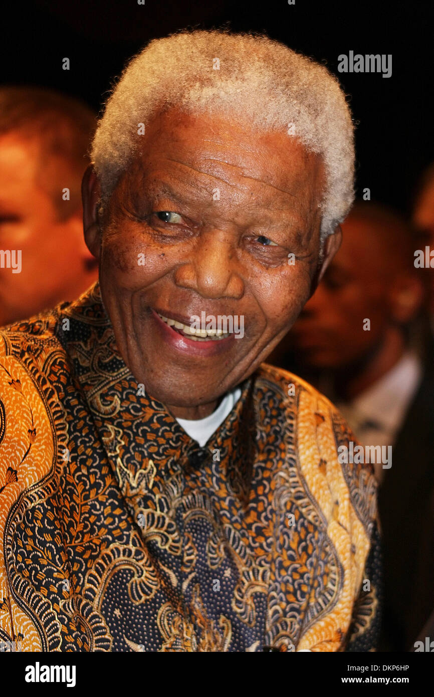 Portrait of  Nelson Rolihlahla Mandela at a function in Johannesburg in November 2008.  Nelson Mandela was the first post-apartheid, democratically elected president of South Africa. - Stock Image