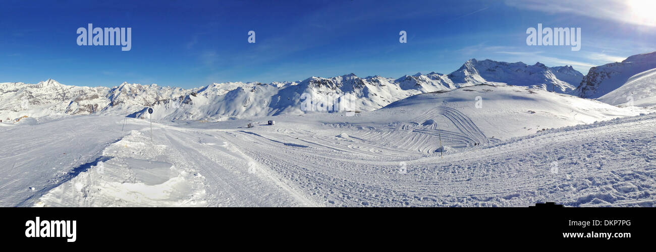 Beautiful Snowy Mountain Landscape In Winter Under Blue Sky