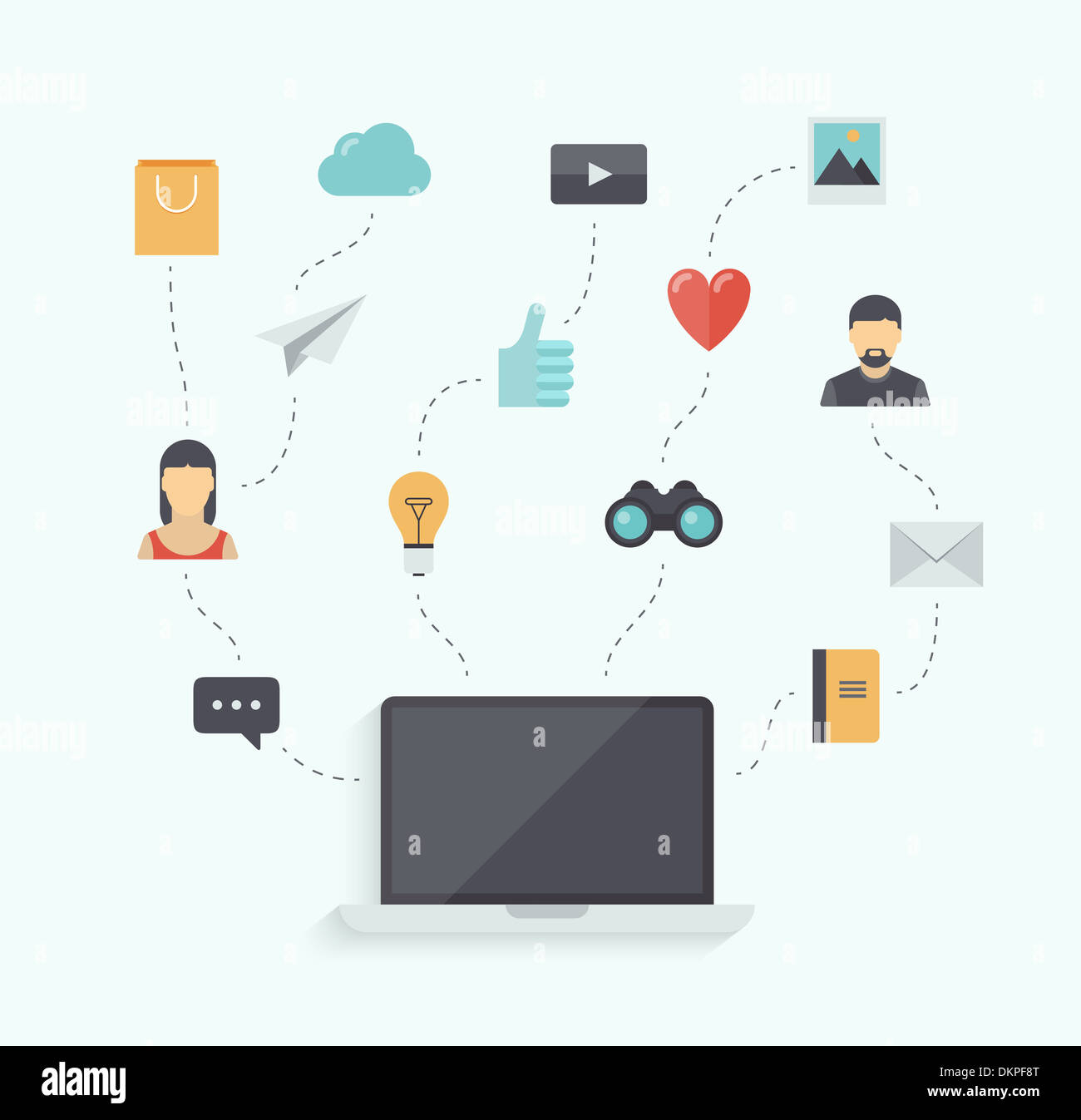Flat design  illustration concept of using modern communication technology with stylish laptop and icons connection elements - Stock Image