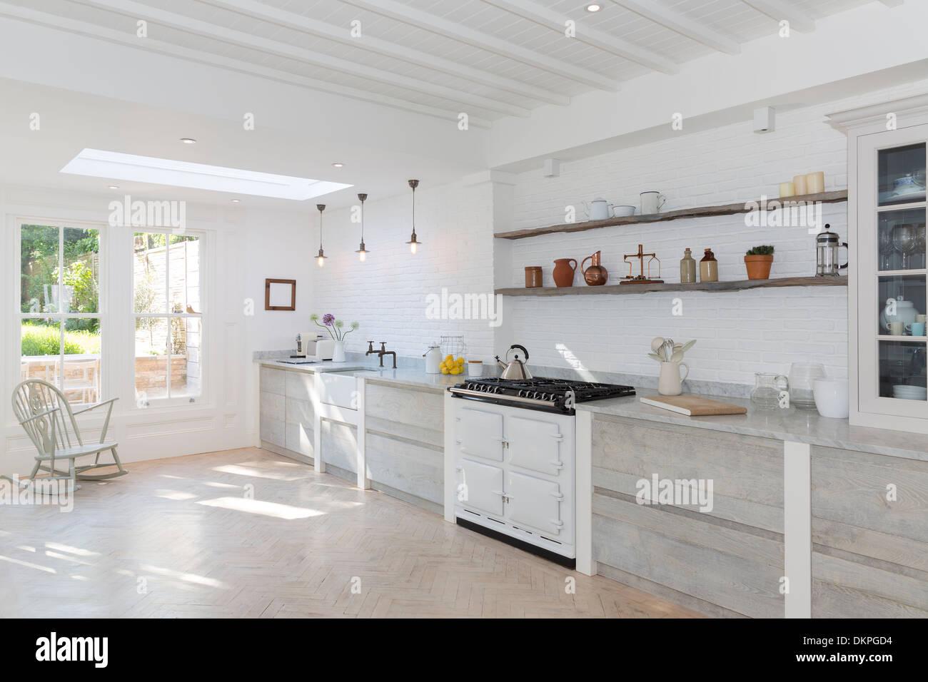 Luxury rustic kitchen - Stock Image