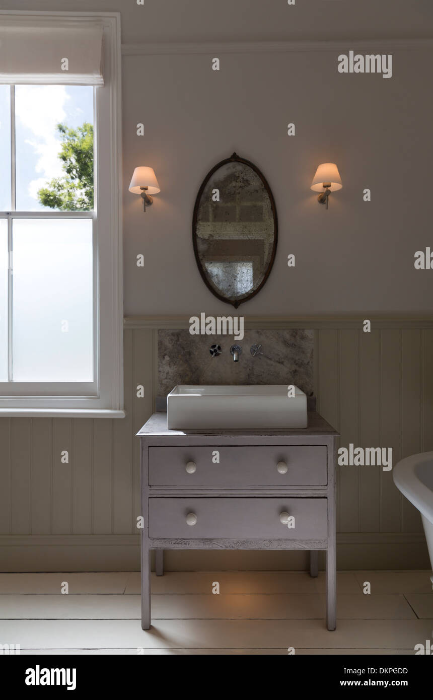 Sink in luxury bathroom - Stock Image
