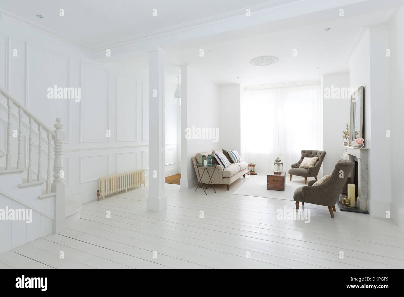 Interior Living Room Fireplace Stair Stock Photos & Interior Living ...