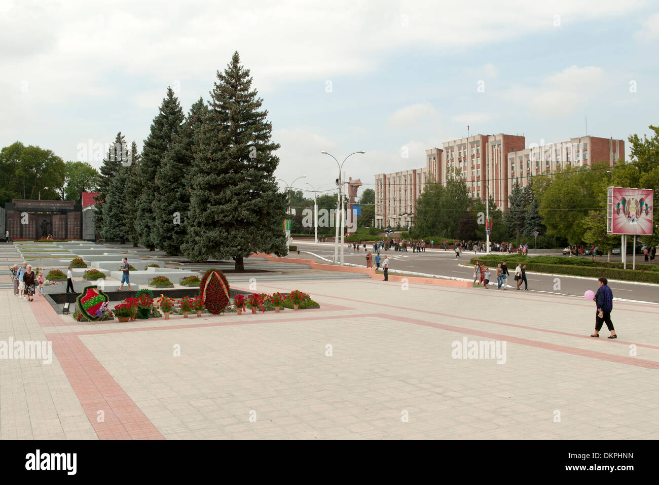 The Transnistria parliament buildings seen from Hero's cemetery (aka the Memorial of Glory) in Tiraspol, capital Stock Photo