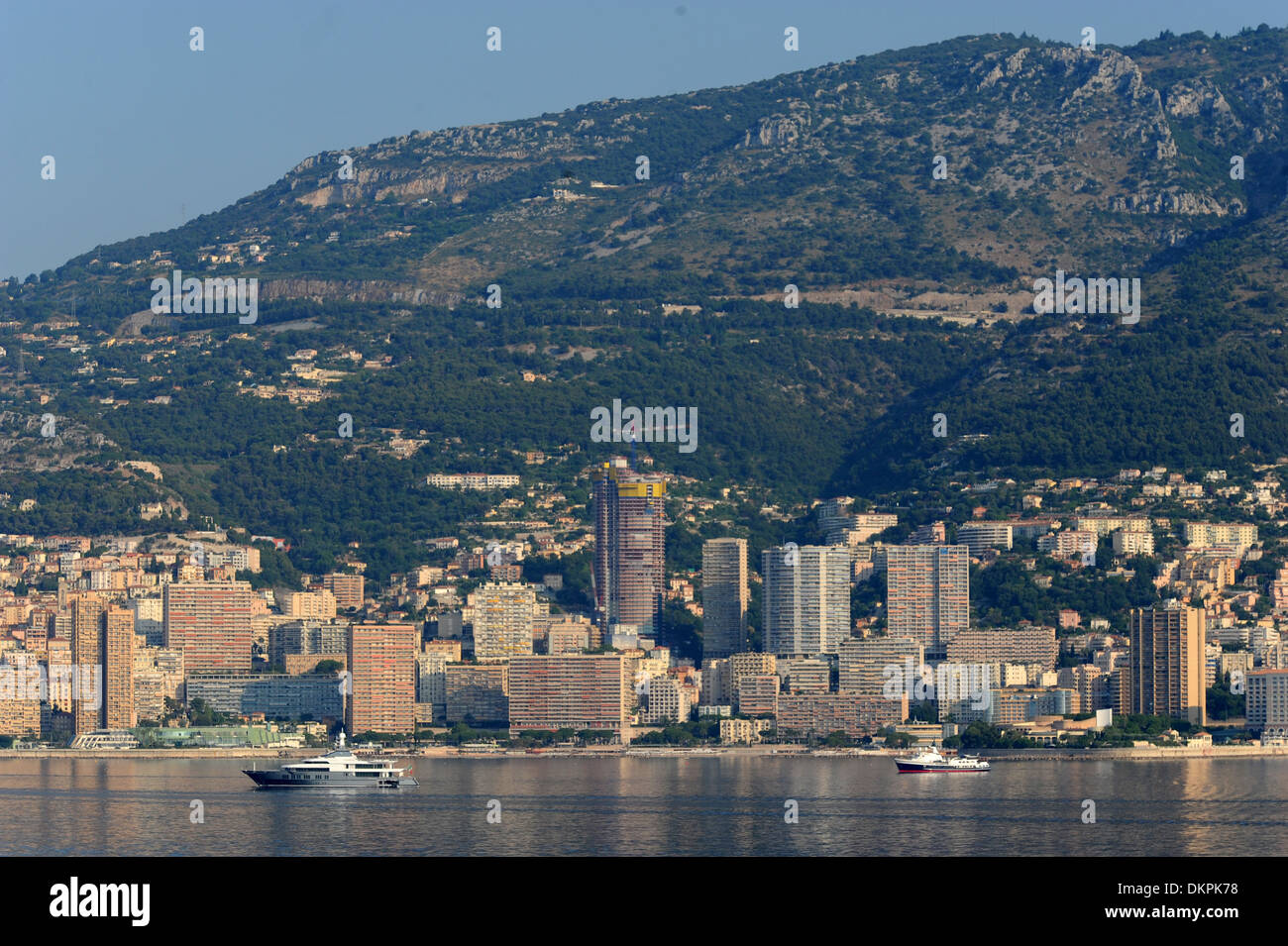 Monte Carlo, Monaco, seen from a cruise ship approaching Port Hercule - Stock Image
