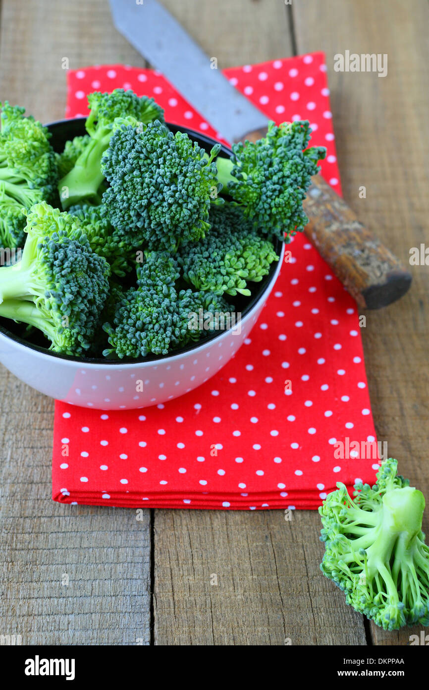 Fresh broccoli is ready for use, food closeup Stock Photo