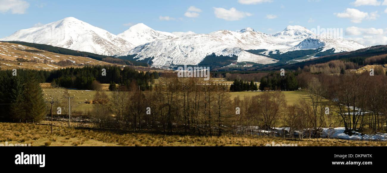 Ben More, Stob Binnein, Beinn Tulaichean and Beinn a'Chroin from Strath Fillan near Crianlarich, Highland region, Stock Photo