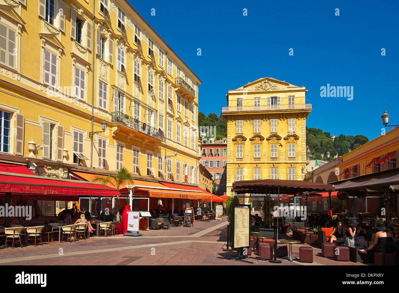 France Europe South of France Cote d'Azur Place Charles Stra à yen cafes street cafes cafes coffee houses cafe house Stock Photo