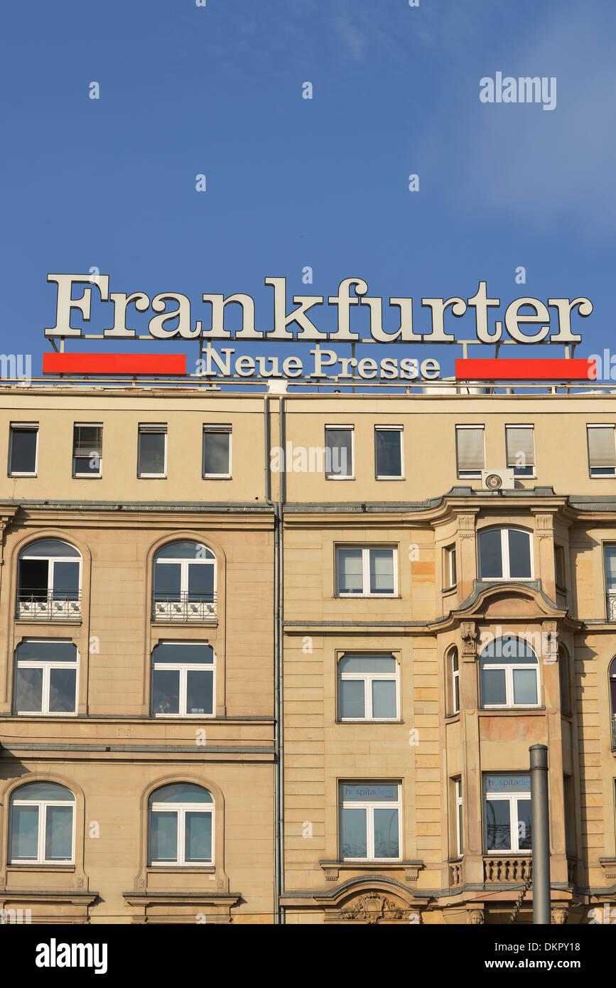 Werbung, Frankfurter Neue Presse, Am Hauptbahnhof, Frankfurt am Main, Hessen, Deutschland - Stock Image