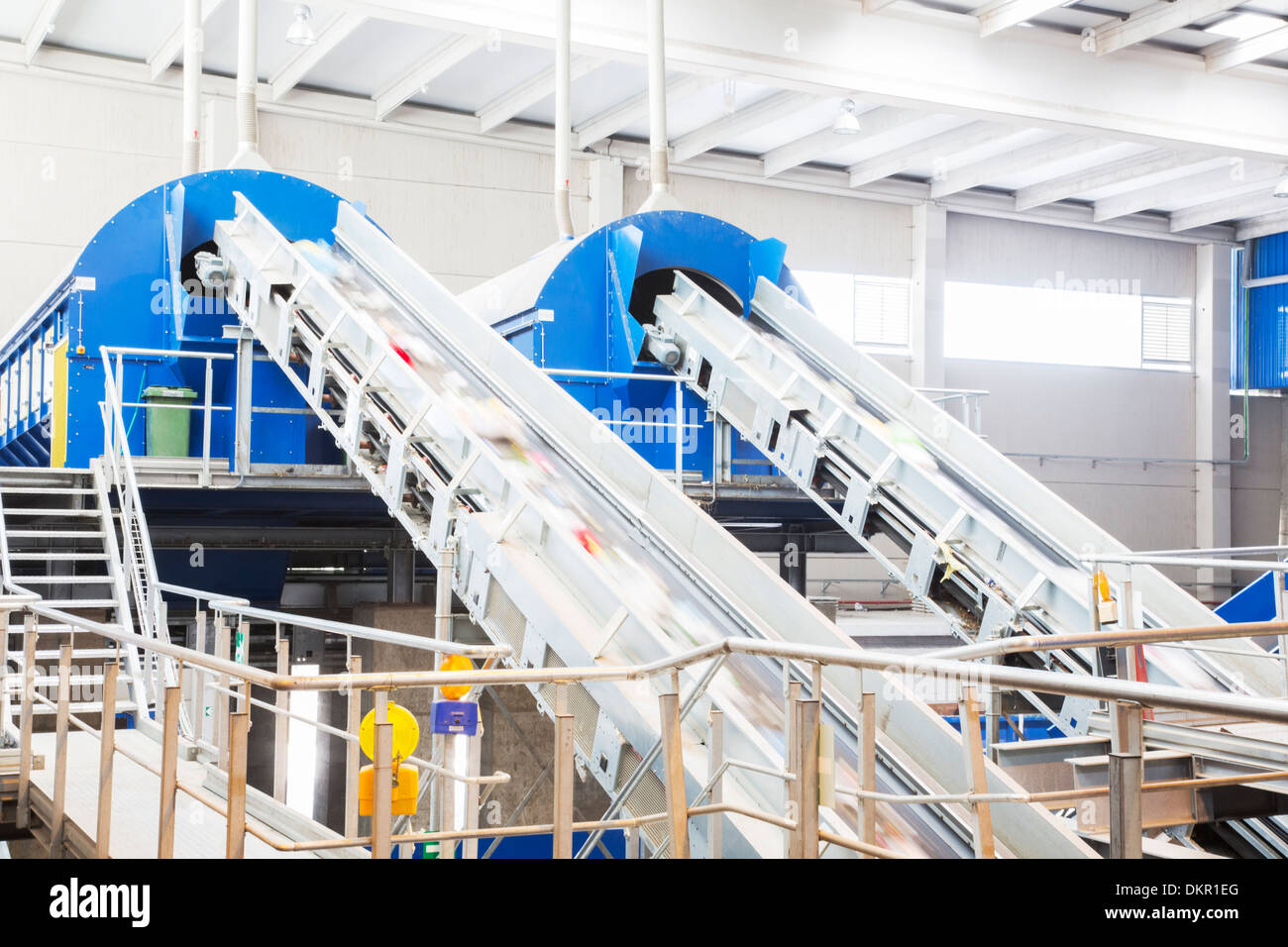 Conveyor belts in recycling center - Stock Image
