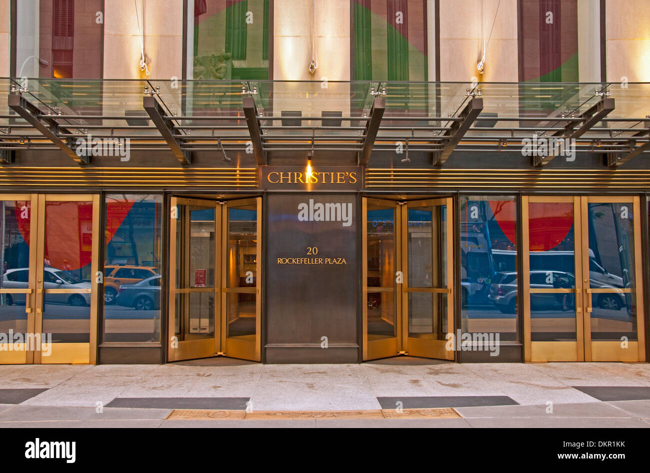 America auction auctioneers Christie Christies city entrance input area foyer front door Manhattan Midtown North America Plaza - Stock Image