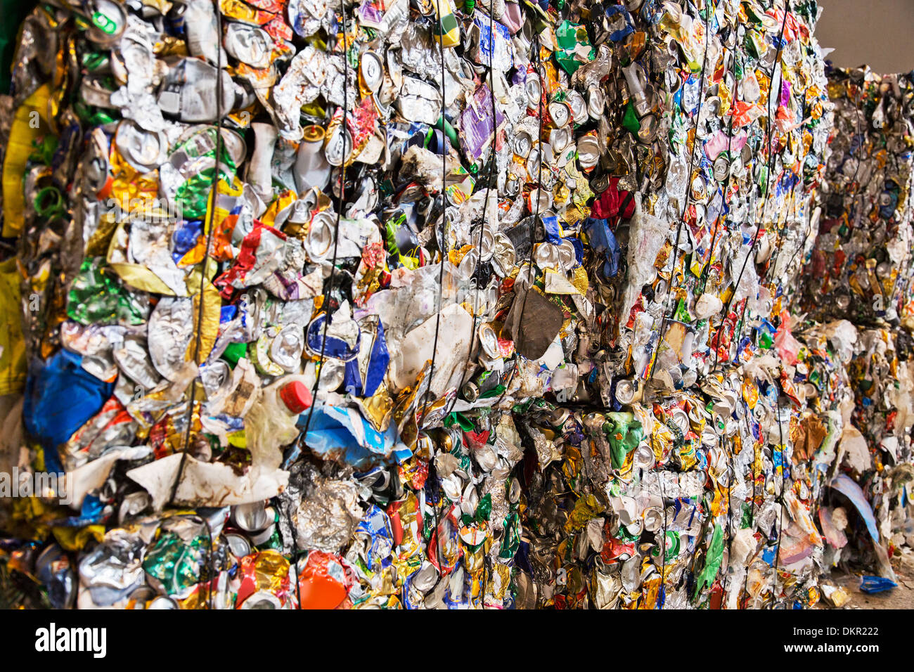 Compressed recycling bundles - Stock Image