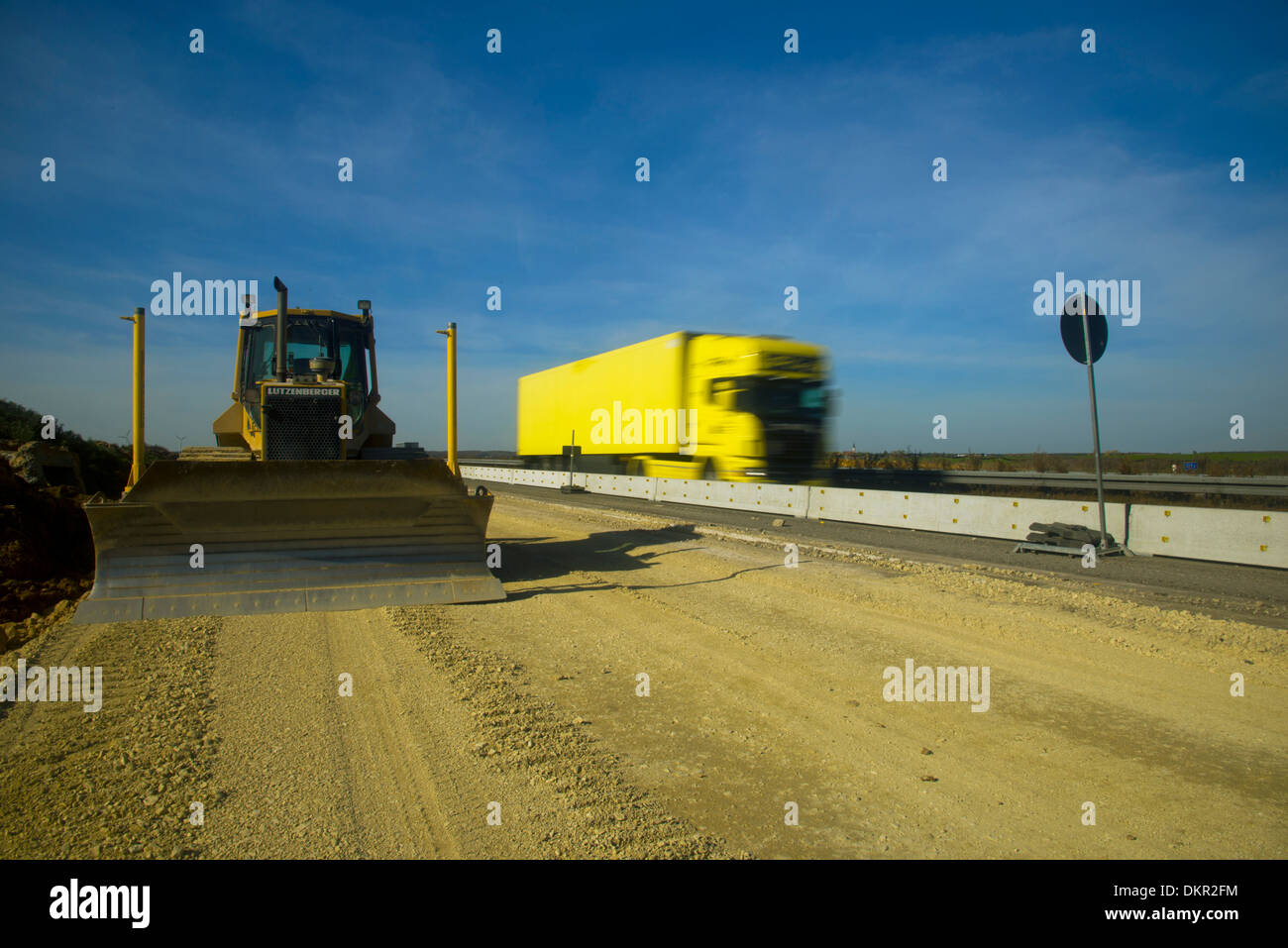 Alb highway building site road project construction work construction branch construction vehicle construction equipment - Stock Image