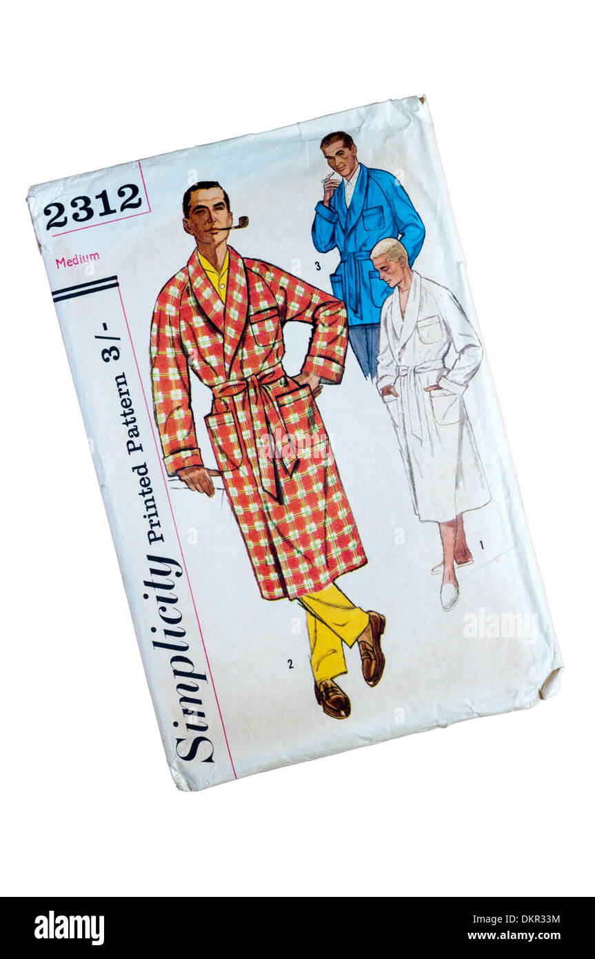 A Simplicity printed paper pattern for making a man's dressing gown. - Stock Image
