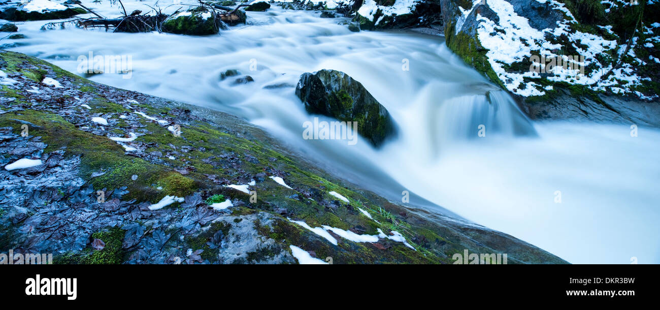 Alps Appenzell AR Ausserrhoden Europe Goldach border border river canton Saint Gall panorama snow Switzerland winter Stock Photo